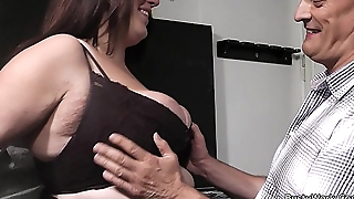 Boss bangs brunette fatty relative to fishnets from behind